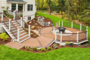 Cape Cod House and Deck Washing house and deck washing House and Deck Washing Trex Deck with Stone Inlay and Fire Pit by Treeline Construction 83171156 std